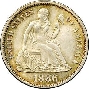 1886 10C MS obverse