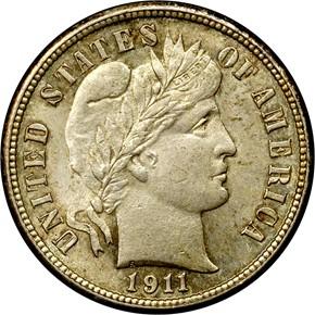 1911 S 10C MS obverse