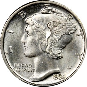 1934 D 10C MS obverse
