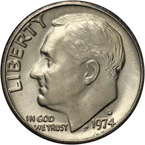 1974 D 10C MS obverse