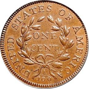 1796 DRAPED BUST 1C MS reverse