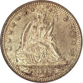 1873 CC ARROWS 25C MS obverse