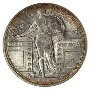 1917 TYPE 1 25C MS obverse