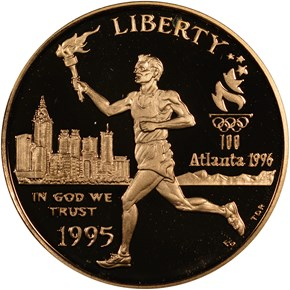 1995 W OLYMPICS TORCH RUNNER $5 PF obverse