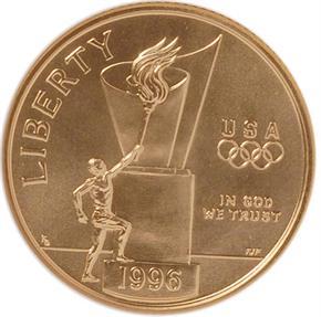1996 W OLYMPICS CAULDRON $5 MS obverse