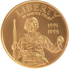 1991-1995 W W.W.II $5 MS obverse