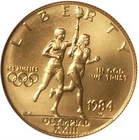 1984 W OLYMPICS $10 MS obverse