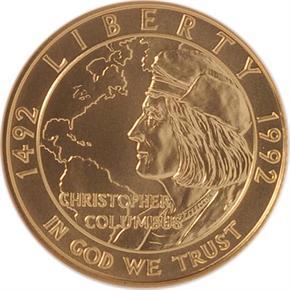 1992 W COLUMBUS $5 MS obverse