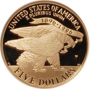 1995 W OLYMPICS STADIUM $5 PF reverse