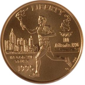 1995 W OLYMPICS TORCH RUNNER $5 MS obverse