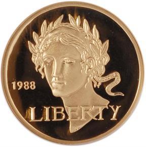 1988 W OLYMPICS $5 PF obverse