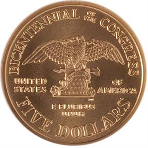 1989 W CONGRESS $5 MS reverse