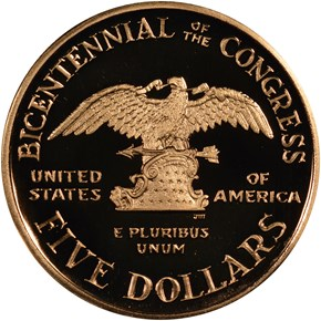 1989 W CONGRESS $5 PF reverse