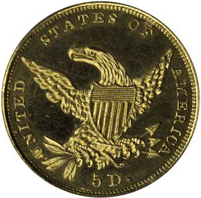 1834 CLASSIC $5 PF reverse