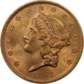 1853 $20 MS obverse