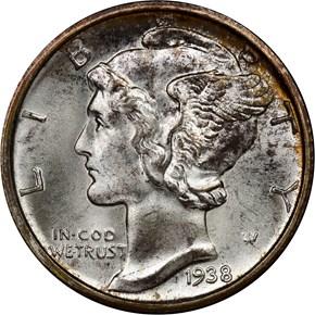 1938 D 10C MS obverse