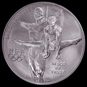 1995 D OLYMPICS GYMNASTICS S$1 MS obverse