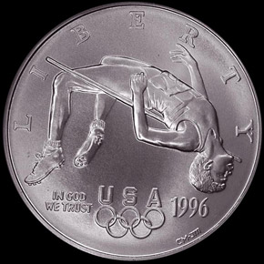 1996 D OLYMPICS HIGH JUMP S$1 MS obverse