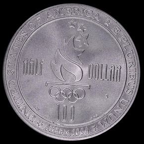1996 S OLYMPICS SWIMMING 50C MS reverse
