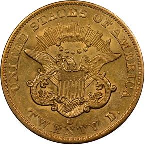 1860 O $20 MS reverse