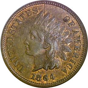 1864 L BRONZE 1C MS obverse