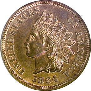 1864 L BRONZE 1C PF obverse