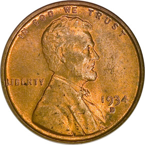 1934 D 1C MS obverse