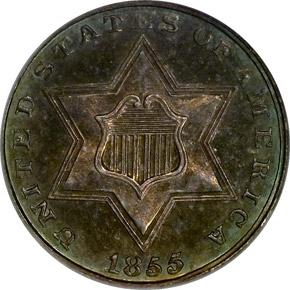 1855 3CS PF obverse