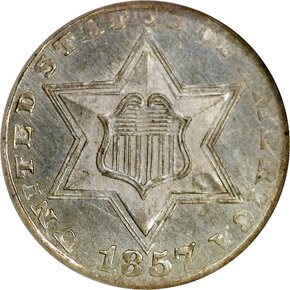 1857 3CS MS obverse