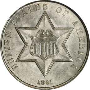 1861 3CS MS obverse