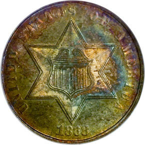 1868 3CS MS obverse