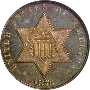1873 CLOSED 3 3CS PF obverse