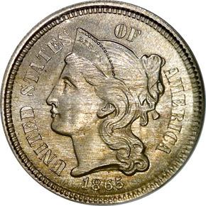 1865 3CN MS obverse