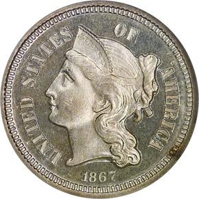 1867 3CN PF obverse