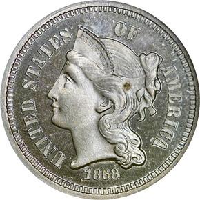 1868 3CN PF obverse