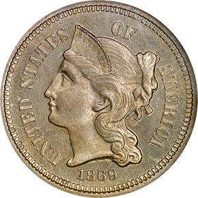 1869 3CN PF obverse