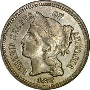 1873 OPEN 3 3CN MS obverse