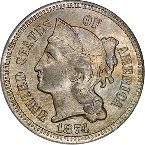 1874 3CN MS obverse