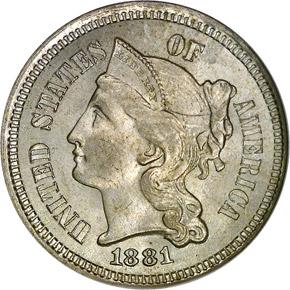 1881 3CN MS obverse