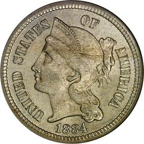 1884 3CN MS obverse
