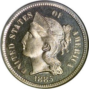 1885 3CN PF obverse