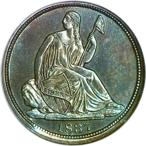1837 SEATED H10C PF obverse