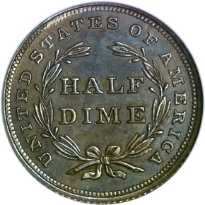 1837 SEATED H10C PF reverse