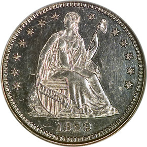 1859 TRANSITION J-232 H10C PF obverse