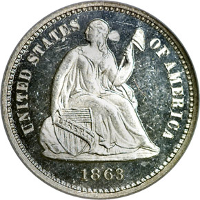 1863 H10C PF obverse