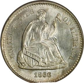 1866 S H10C MS obverse