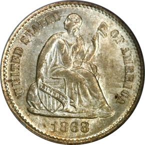 1868 S H10C MS obverse