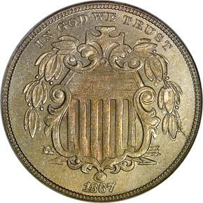 1867 RAYS 5C MS obverse