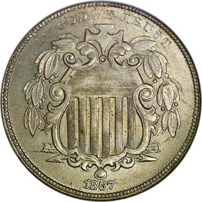 1867 NO RAYS 5C MS obverse