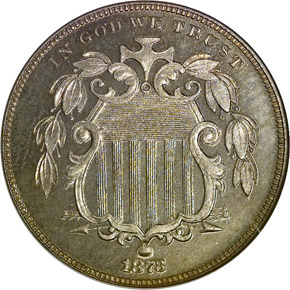 1873 CLOSED 3 5C PF obverse